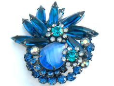 Rare Blue JULIANA Brooch Blue Green Art Glass Japanned Vintage High Fashion Collectable Jewelry D & E Verified Royal Blue Pin Art Deco Style via Etsy