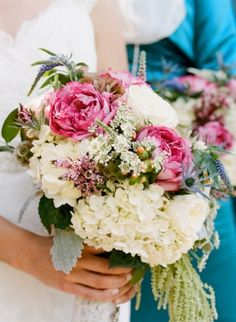 Pink White and Green Bridal Bouquet