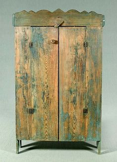 Yellow pine jelly cupboard,