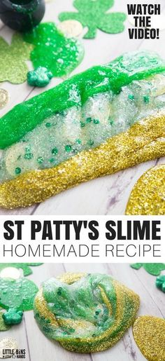 Learn how to make amazing St Patricks Day slime recipe ideas with kids. Making homemade slime for St Patricks Day is a great science and sensory play activity. #DIYslime #StPatricksDay
