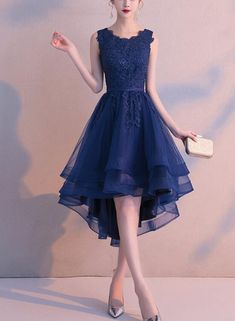 Charming Blue High Low Round Neckline Stylish Party Dress, Cute Formal Dress 2019 - Charming Blue High Low Round Neckline Stylish Party Dress, Cute Formal – BeMyBridesmaid Source by guara_laura - Cute Formal Dresses, Cute Dresses For Party, High Low Prom Dresses, Grad Dresses, Dresses For Teens, Stylish Dresses, Elegant Dresses, Pretty Dresses, Beautiful Dresses