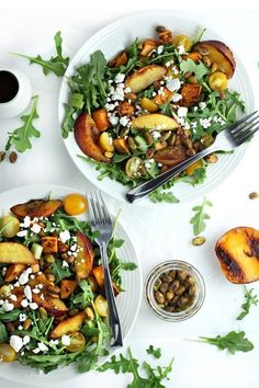 Grilled peach and sweet potato salad with honey balsamic vinaigrette | Vegan, gluten free, paleo, and vegetarian. | Click for healthy recipe. | Via Drool-Worthy
