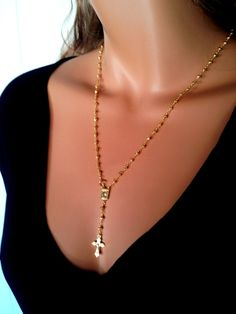 Gold Rosary Necklace Pyrite Gemstone 18kt Gold Womens Gold Cross Pendant Rosaries - RHBH Real Housewives Rosary