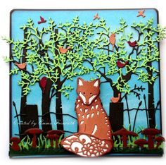 Woodland Fox male birthday card.  Spellbinders fox die, memory box dies trees, birds and fence. Cheerylynn grass and joy toadstool dies.