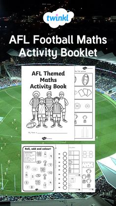 Have hours of fun with this lovely AFLthemed activity booklet, featuring lots of Australian Football League themed activities covering all subjects! Australian Football League, Math Books, Math Activities, Booklet, Day, Kids, Children, Boys, Children's Comics