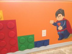 Boys Lego Bedroom, Boy Room, Kids Room, Playroom Mural, Bedroom Murals, Lego Room Decor, Wall Decor, Legos, Lego Bathroom