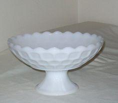 Early 1960s White Milk Glass Fruit Bowl