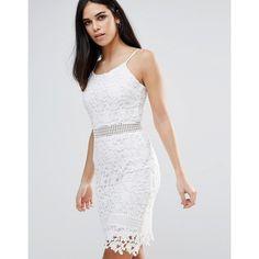 Parisian Lace Cami Dress (£20) ❤ liked on Polyvore featuring dresses, white, lace kimono, fringe kimono, white floral dress, lace camisole and white floral kimono