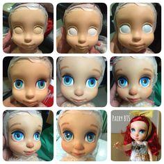 Disney animator ariel repaint by Pairybts, hope you like it ❤️ Disney Baby Dolls, Disney Princess Dolls, Baby Disney, Diy Ooak Doll, Ooak Dolls, Doll Eyes, Doll Face, Tinkerbell, Doll Repaint Tutorial