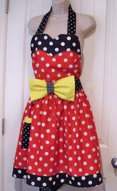 Womens Legends Minnie Mouse  Apron  Red White Polka Dot by TheSewingPassionista on Etsy https://www.etsy.com/listing/112192470/womens-legends-minnie-mouse-apron-red
