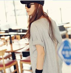 Solid Long Oversized T-shirt for Women