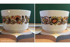 Items similar to Vintage J G Meakin / Bali Studio Pottery Range / Sugar Bowl & 2 Plates / flowers, warm colours / Retro England, Alan Rogers designer on Etsy Sugar Bowl, Bali, Pottery, Range, Mugs, Studio, Unique Jewelry, Tableware, Handmade Gifts