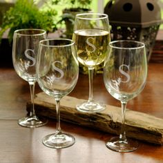 Personalized White Wine Glass Set Personalized white wine glasses are a great way to make dress up an occasion of celebration or a quite evening of wine. These custom engraved wine glasses are a great bridesmaids gift. Personalized Wine Glasses, Personalized Gifts, Personalized Wedding, Engraved Gifts, Monogrammed Glasses, White Wine Glasses, Shot Glasses, Blog Planning, Wine Glass Set