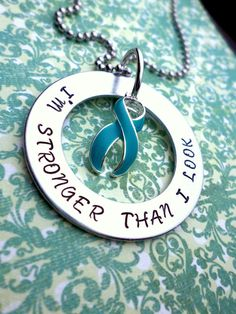 I'm Stronger Than I Look necklace - Ovarian Cancer, Scleroderma, PTSD, OCD, Tourette's Synodrome, Anxiety Awareness, Sexual Assault Support  For disk.