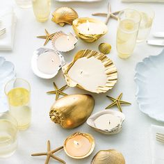 Similarly, a tabletop arrangement of these metallic-painted shell candles are so twinkly and bright, you might rethink your Christmas string lights next year.
