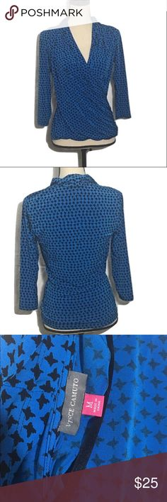 "Vince Camuto blouse This blue houndstooth blouse by Vince Camuto is a size Medium. The draping and cut is incredibly flattering and the material is 95% polyester/5% spandex. The measurements are Bust 36"", Waist 30"", Length 24"", and Sleeve length 19"". Excellent condition with no pilling, tears, or stains. Offers welcome! ❤ Vince Camuto Tops Blouses"