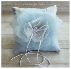 Ring Pillow Blue Ring Bearer Pillow Handmade by IrenDesigns, €34.00