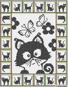 19 ideas for crochet cat pattern posts Gato Crochet, Crochet Cross, Crochet Chart, Crochet Blanket Patterns, Crochet Stitches, Crochet Doilies, Knit Crochet, Crochet Blankets, Cat Cross Stitches
