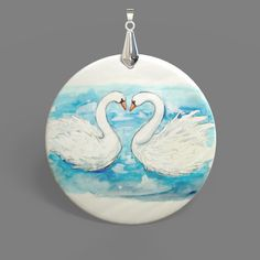 Color Printing Swan White Mother of Pearl Shell Pendant Necklace J1705 0003 #ZL #Pendnat