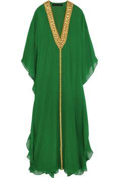 Melissa Odabash   + Julien Macdonald Hilary embellished silk-georgette kaftan   NET-A-PORTER.COM