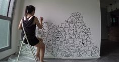 I Painted A Mountain Of Cats On A Blank Wall To Bring It To Life | Bored Panda