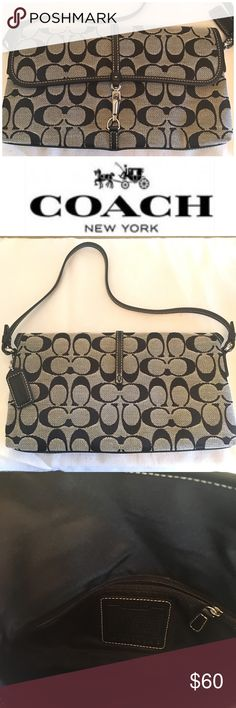 """Coach Demi Bagette Absolutely awesome, like new Coach Demi baguette .  Classic Coach C pattern in black.  Fold over flap with silver pinch clip.  All leather trim and strap.  Interior is black cloth with one zippered pocket. Drop is 7"""" Coach Bags Shoulder Bags"""