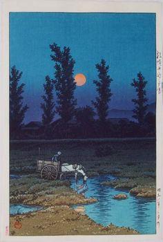 Kawase Hasui, Moon at Nakanoshima, Sapporo