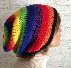 Hipster slouchy beanie hat, rainbows on your head, rainbow hat, striped beanie, crochet hat,rainbow slouchy beanie, teen hat , hat by CarrowayCrochet on Etsy https://www.etsy.com/ca/listing/505093977/hipster-slouchy-beanie-hat-rainbows-on