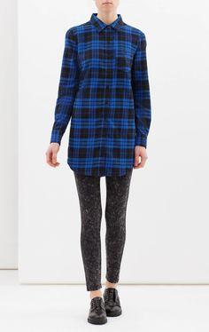 Camicia misto cotone a quadri, Nero/Blu