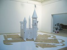 Big Paper Castle, 2004   Cut and folded from one sheet of 350 gsm paper. 7,20 x 7,15 x 3,75 m   Charlottenborg Udstillingsbygning's Autumn exhibition, Copenhagen