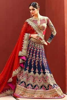 Navy Blue A-Line Art Silk Bridal Lehenga Choli ,Indian Dresses - 1