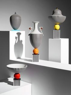 British designer Lee Broom has created ceramics for British luxury brand Wedgwood that feature monochrome stripes and colourful detailing reminiscent of postmodernist design. The range of bowls and vases will begin at £7,000, and will be sold exclusively at London department store Harrods in editions of 15 per piece. When designing his first collection with Wedgwood, Broom looked back on some of the brand's most iconic pieces, particularly the Panther Vase...