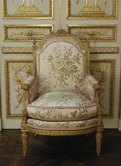 These bergères were part of the same set as the two armchairs (1977.102.11, .12) and the sofa (1973.305.1) also in the collection, formerly in the possession of the Marquise de Ganay. They were made by Jean-Baptiste Demay, whose mark is stamped beneath the back rail of the seats