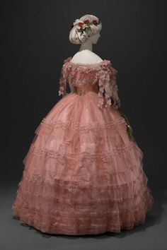 "ornamentedbeing: "" c. 1858 MFA says: Oh look! Lyze is going to make this for the Victorian ball in April ""Bright pink tulle and taffeta dress; (a) bodice widely flaring neckline,. 1850s Fashion, Victorian Fashion, Vintage Fashion, Historical Costume, Historical Clothing, Vintage Gowns, Vintage Outfits, Civil War Dress, Retro Mode"