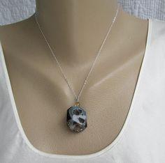 Drusy Banded Onyx Pendant Necklace Black Gray Blue Druzy Gemstone Jewelry
