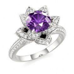 amethyst engagement ring in 14k white gold - Amethyst Wedding Rings