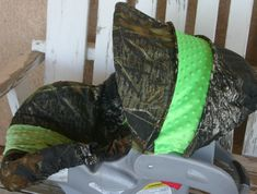 Mossy Oak Camo w/ lime green orange red blue by SqueakyBugBabies, $42.00