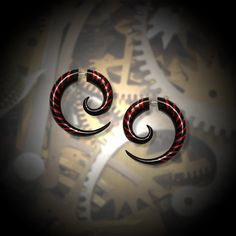 OMG!!! I WANT THESE!-Fake Gauge Earrings  Large Black Horn Spiral w by PrimalOriginals, $24.00