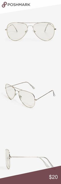BRAND NEW CLEAR LENS SILVER METAL FRAME AVIATORS No trades. BRAND NEW! This is for the SILVER frame pair - I also have these listed in a black frame and rose gold frame.  This clear lens fashion necessity features an aviator shape. High-shine finish. SILVER metal frames. Lenses measure 3 inches high by 5 inches wide. No RX. Accessories Glasses