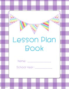 Cute purple gingham Lesson Plan Book cover, with 6 coordinating pages...available in green or blue gingham also. $