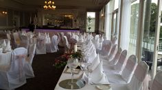 Top table layout along the floor to ceiling windows offering views overlooking Glenlo Abbey Estate. 5 Star luxury wedding venue in Galway, Ireland - where old world charm meets contempory elegance. Luxury Wedding Venues, Galway Ireland, Floor To Ceiling Windows, Old World Charm, Layout, Flooring, Table Decorations, Weddings, Star