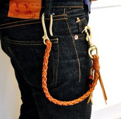 Braided Leather key holder with brass hook, prolly not going to used it on my jeans!