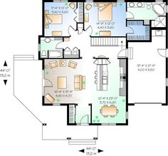 This country design floor plan is 1452 sq ft and has 2 bedrooms and has 2 bathrooms. 2 Bedroom House Plans, New House Plans, Small House Plans, House Floor Plans, Southern House Plans, Country Style House Plans, Little Houses, Small Houses, Tiny House