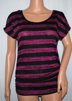 NEW Pink Rose Pink & Black Striped Ruched Sweater Juniors Top Small S #pinkrose #ScoopNeck