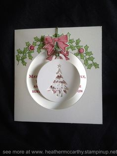 Stampin' Up's Holly Berry Happiness stamp set and Merry Tag's framelit dies…