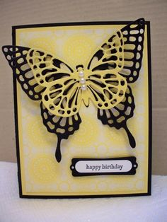 Despite the winter and snow outside, I wanted to send a cheerful birthday card (of course).  I LOVE the new Butterflies Thinlits and had fun making this card.  Thanks for looking!