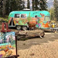 A picture of a painting of a cactus mural painted Argosy Airstream with a goat in front. I think I had a dream that looked just like this… Hippie Camper, Camper Caravan, Retro Campers, Camper Life, Vintage Campers, Happy Campers, Vintage Motorhome, Rv Life, Camper Trailers
