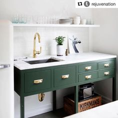 This green and brass combination from @rejuvenation has my White is my first love but I can be swayed! Design by @katiehackworth #interiordesign #design #brass #lovely #needaclienttodothis