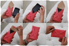 DIY Leather Envelope Cell Phone Case (materials required, pattern and instructions for sewing inc. Diy Leather Envelope, Diy Envelope, Envelope Clutch, Leather Pouch, Leather Cell Phone Cases, Diy Phone Case, Phone Cover, Cellphone Case, Iphone Cases