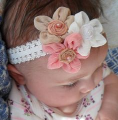 Flower Bow Baby Bow Flower Headband Baby by MyKidsCuterBowtique